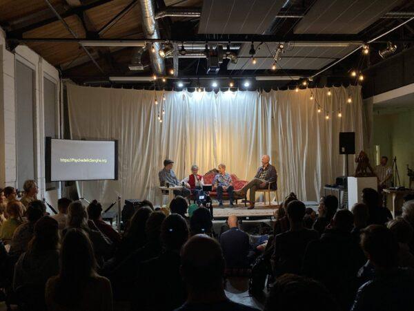 Erik Davis, Mariavittoria Mangini, David Presti, and Allan Badiner at Secret Drugs of Buddhism discussion panel