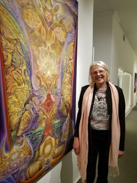 Deborah Parrish Snyder at the Secret Drugs of Buddhism book launch marvelling @phaneros_art's visionary gallery.