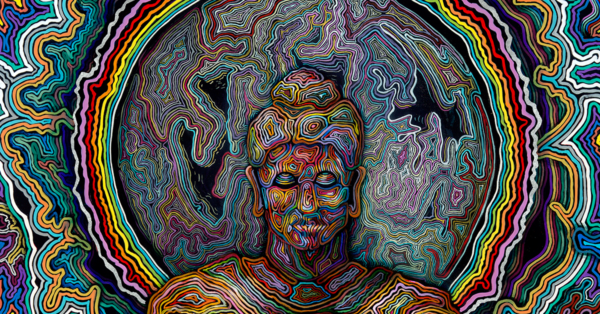 Psychedelic Visionary Art depiction of Buddhist meditation practice